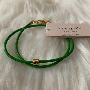 KATE SPADE Leather Wrap Bracelet in Green